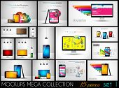 Collection of phone, pc and tablet mockups with infographics. A lot od design elements to classify p