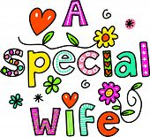 image of special occasion  - Hand drawn and coloured whimsical cartoon special occasion text that reads A SPECIAL WIFE - JPG