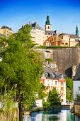 Cityscape view of Luxemburg with Alzette river