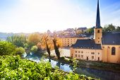 Sunny view of Abbey de Neumunster in Luxembourg