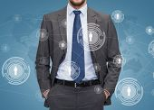 business, people and global connection concept - close up of businessman over blue world map and hum