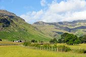 picture of dungeon  - Langdale Valley Lake District Cumbria near Old Dungeon Ghyll England UK in summer blue sky and clouds scenic - JPG