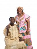 Mid Age African American Couple Wearing Colorful Costume Closeup Happy Portrait Isolated on White Background