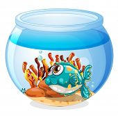 Illustration of a fish inside the aquarium on a white background