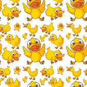 Illustration of the seamless design of ducklings on a white background