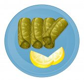 Illustration of a plate with healthy foods on a white background