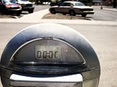 Close up of parking meter showing that the time has run out