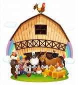 Illustration of a farm with farm animals on a white background
