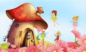 stock photo of fairy  - Illustration of a big mushroom house with fairies - JPG
