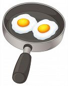 Illustration of the fried eggs on a white background