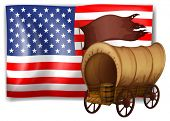Illustration of the USA flag at the back of a wagon on a white background