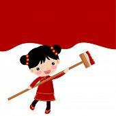 Chinese girl painting
