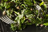 stock photo of sauteed  - Homemade Healthy Sauteed Swiss Chard with Garlic and Cheese - JPG