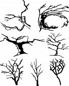 Collection of tree silhouettes. Easy to edit any size.