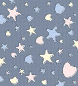 Beautiful Pastel Background In Blue With Stars And Hearts