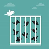 Vector image of bird in the cage and outside the cage.