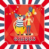 stock photo of circus clown  - Vintage vector card with clowns - JPG