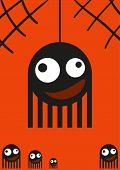 Cute monsters, spiders on web, halloween card