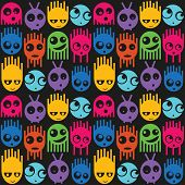 foto of funny ghost  - Cute monsters seamless pattern - JPG