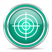 target green glossy web icon