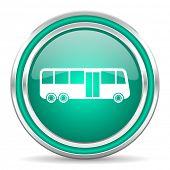 bus green glossy web icon