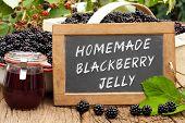 Slate Blackboard With The Words: Homemade Blackberry Jelly