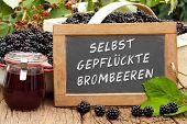 Slate Blackboard With The Words: Selbst Gepflueckte Brombeeren