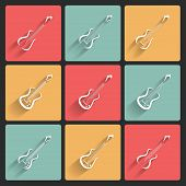 Guitar application icons in flat design for web and mobile, eps10