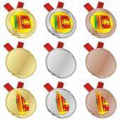sri lanka vector flag in medal shapes