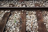 Train Track With Old Wood Planks
