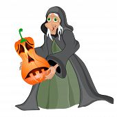 Halloween Background With  Witch And Pumpkins. Vector Illustration