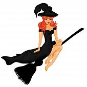 Happy Halloween Poster. Halloween Banner .vector Illustration.the Witch On A Sweeper.