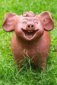 Pig Statue  On Grass