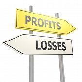 Profits Losses Road Sign