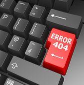 Error 404 Key On Computer Keyboard