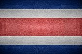Closeup Screen Costa Rica Flag Concept On Pvc Leather For Background