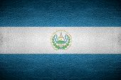 Closeup Screen El Salvador Flag Concept On Pvc Leather For Background