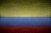Closeup Columbia Flag Concept On Pvc Leather For Background