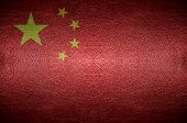 Closeup China Flag Concept On Pvc Leather For Background