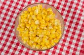 Yellow Corn In A Glass Bowl