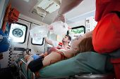 Injured Woman Needs Oxygen In Ambulance