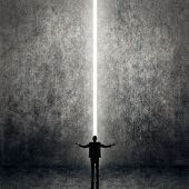 Asian business man facing the light, concept of freedom, relax, future, successful etc.