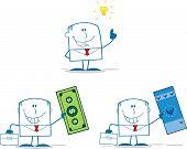 Businessman Dude Monochrome Cartoon Character 1. Collection Set