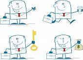 Businessman Dude Monochrome Cartoon Character 2. Collection Set