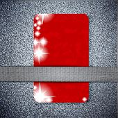 red card  texture on a metal background with place for your t
