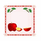 Button Apple With Leaves Vector