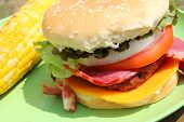 Big Grilled Bacon Cheese Burger In Summer