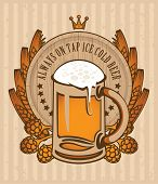 pic of malt  - coat of arms with a glass of beer keg - JPG