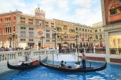 Cotai Strip, Macau, China-august 22 Visitor On Gondola Boat In Venetian Hotel  The Famous Shopping M