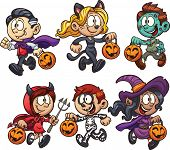 Cartoon Halloween kids. Vector clip art illustration with simple gradients. Each on a separate layer